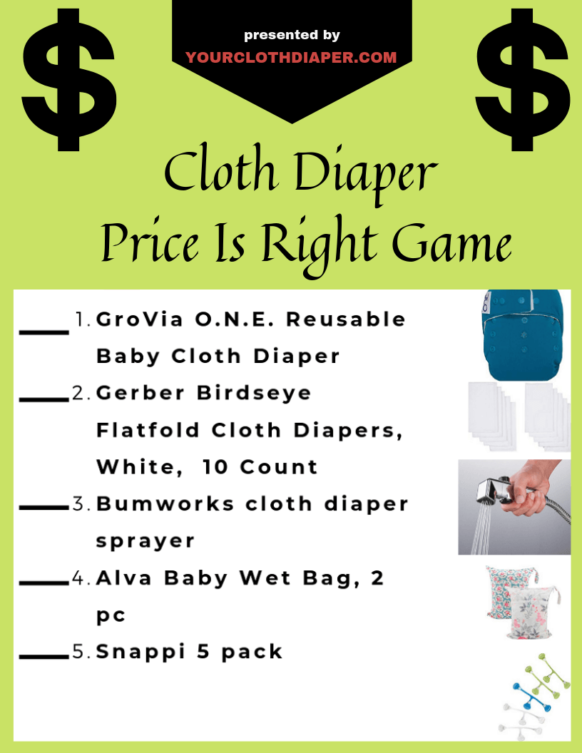 Cloth Diaper Price Is Right Baby Shower Game
