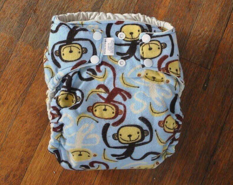 Silly Monkeys Print Fitted Perfect Size Cloth Diaper Size Large