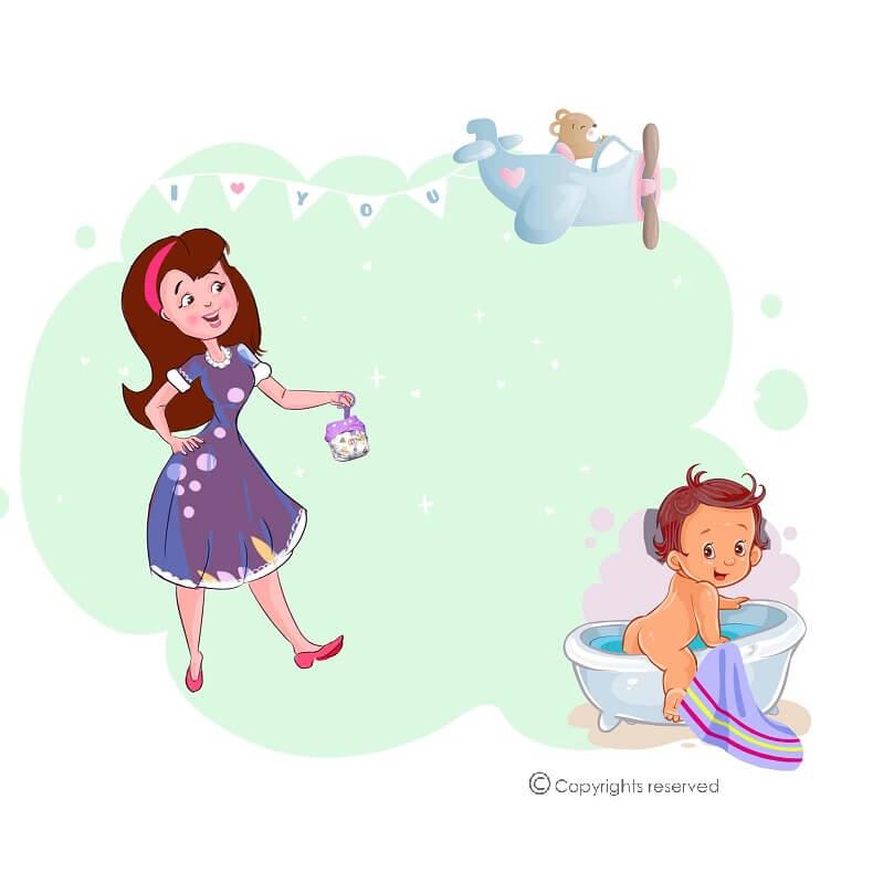 Mom With Diaper Keychain 1
